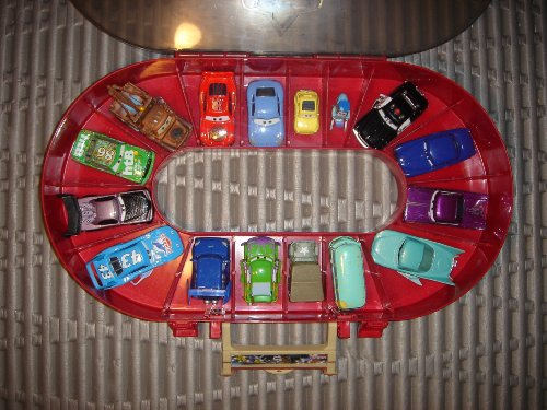 Carrying Case with Full Set of Cars: Mater, Sheriff, Filmore, Boost, Lightening McQueen and Many More.