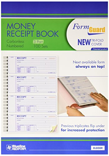 Rediform Formguard Money Receipt Book, 2.75 x 7 Inch, 4x100 Receipts (8L808R)