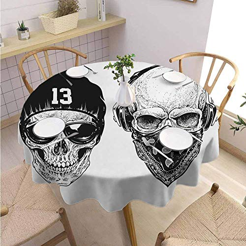 "DILITECK Skull Indoor and Outdoor Polyester Round Tablecloth Funny Skull Band Dead Street Gangs with Bandanna Hood Rapper Style Grunge Print Daily use Diameter 36"" Black White"