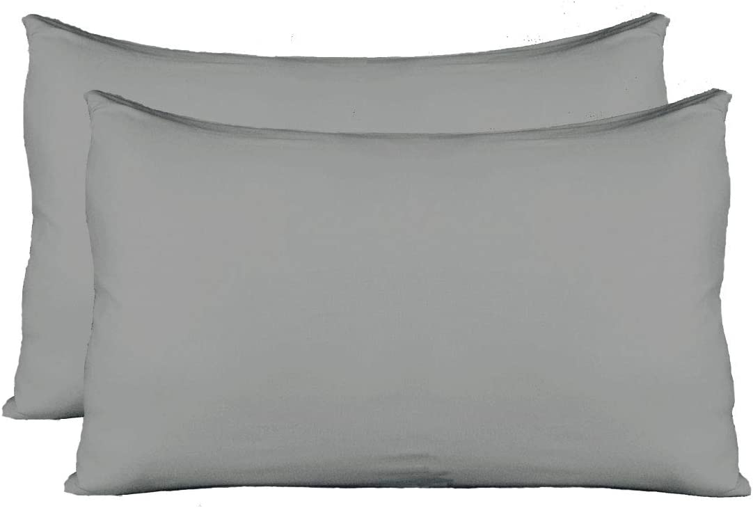 Extra Soft Jersey Knit Pillow Cases, Standard Size with Hidden Zipper, Soft Than Cotton, Pack of 2, Gray