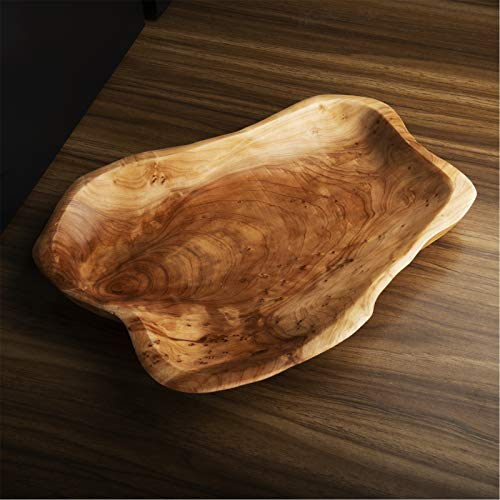 Hurricom Root Wood Dish, Vintage Ring Dish Hand Carved Artworks - 13-14 inch,Oval Shape Party Platter and Tray for Sandwich Bread Serving, Appetizer Display
