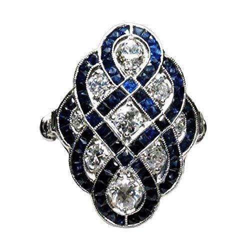 N / A Nigoz - Anillo de compromiso para mujer, diseño de zafiro y diamantes blancos, cómodo y respetuoso con el medio ambiente, práctico y económico