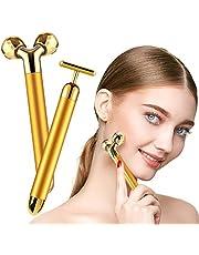 2-IN-1 Beauty Bar 24K Golden Face Massager 3D Roller Electric Beauty Bar and T Shape Face Massager Kit Face Lift Skin Tightening