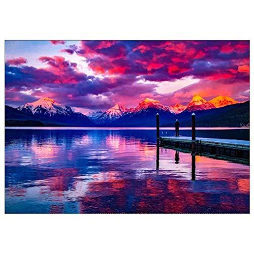 Noete Juego de pintura de diamante 5D – puesta de sol en el lago – Juego completo de pintura por números