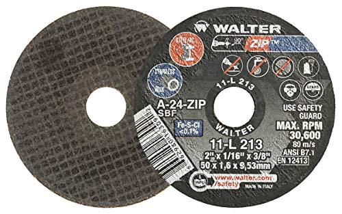 Walter 11L213 ZIP Performance Cutting and Grinding Cutoff Wheel - [Pack of 25] A-24-ZIP Grit, 2 in. Abrasive Wheel. Abrasive and Finishing Supplies