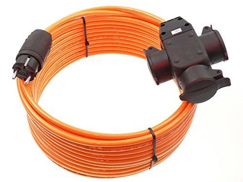 netbote24® Schuko Pur-Verlängerungskabel mit 3-fach Verteilersteckdose H07BQ-F 3G1,5 mm² IP44 geeignet für Außen 230V/16A 10m