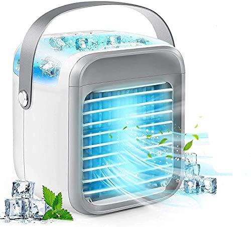 Acondicionador de aire portátil 2021 Unidades portátiles de CA con asa, actualización Recargable Ventilador de aire acondicionado evaporativo con 3 velocidades 7 colores, refrigerador de aire para la