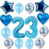 Hongyantech 23 globos con número 23 para cumpleaños de niño, kit azul, tamaño XXL, globos con número 23, globos de helio azul para 23 cumpleaños de niño
