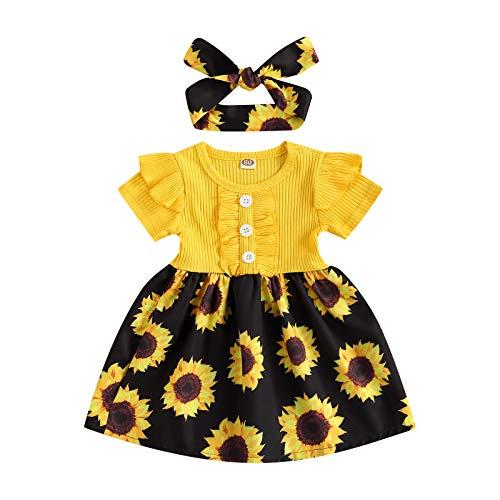 Baby Mädchen Sonnenblumen Kleider Rüschen Strickoberteile Blumendruck Flare Rock Kleinkind Mädchen Einteiliges Kleid (Gelb, 1-2 Jahre)