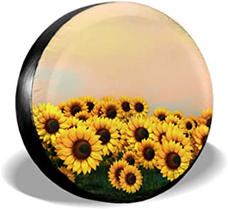 ENEVOTX 3D Rendering Beautiful Sunflower Field Tire Protector Spare Tire Cover for Women Tire Cover Waterproof Uv Sun 14 - 17 Fit for Jeep Trailer Rv SUV and Many Vehicle