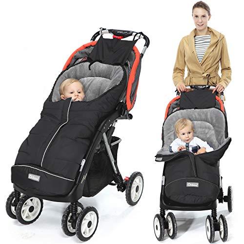 Orzbow Fußsack für Kinderwagen Buggy,Baby Fußsack Schlafsack,Babyfußsack für Babyschale,Winterfußsack mit Reißverschluss Waschbar Passend für Alle Kinderwagen (Schwarz,Groß)
