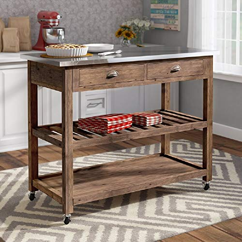 Homelity Mobile Kitchen Island with Wheels, 3 Tier Rolling Kitchen Cart with 2 Drawers, 2 Spacious Storage Shelves and Stainless Steel Countertop, Long Kitchen Island (Driftwood)
