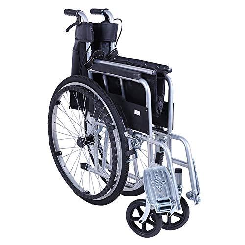 Stalen rolstoel-vouwbare lichtgewicht rolstoel, ademend canvas kussen voor senioren en mensen in nood, vouwmaat 90 * 24cm,