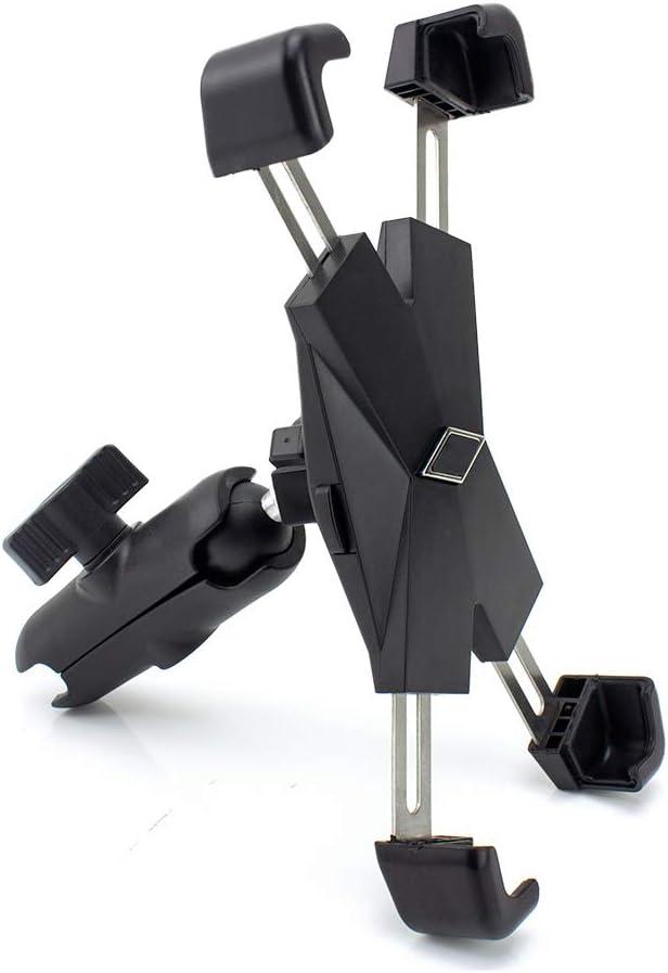 Soporte de Metal para navegador con Abrazaderas de Acero Inoxidable para Motocicleta Ball RAM Mount (1 Pulgadas), Incluye Abrazadera de Brazo de Doble zócalo, Compatible con teléfonos de 4,5