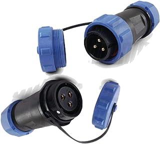 oniroview - Par de conectores de 3 pines con conector IP68 impermeable 30 A SP21 macho y hembra para volante con tapón de ...