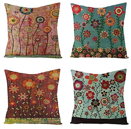KaiXINSun Throw Pillow Fundas Paquete De 4 Fundas De Cojines De Flores De Colores Retro De 18X18 Pulgadas Fundas De Cojines Decorativos De Casa Cuadrada Funda De Sofá con Cremallera Invisible