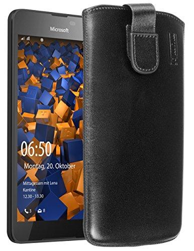mumbi Echt Ledertasche kompatibel mit Microsoft Lumia 650 Hülle Leder Tasche Hülle Wallet, schwarz