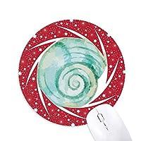 カタツムリの海洋生物のブルーのイラスト 円形滑りゴムの赤のホイールパッド