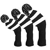 lychee 3pcs Housse Protection pour Tête de Club de Golf,Tricot de Golf Headcover Ensemble de 3 pour Le Bois de conducteur,Bois de Parcours et Hybride (UT),Golfeurs Masculins/Féminins