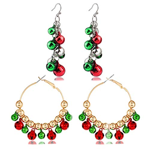 Christmas Bell Earrings For Women Girls Christmas Hoop Drop Dangle Earrings Set Holiday Jewelry Gifts Xmas Party Favors For Kids
