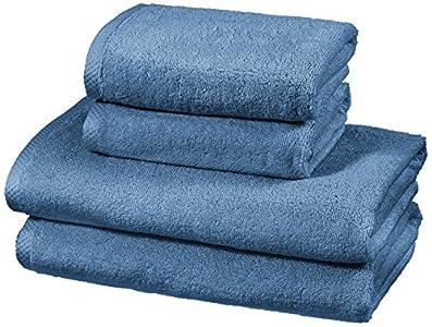 AmazonBasics - Juego de 4 toallas de secado rápido, 2 toallas de baño y 2 toallas de mano - Azulón