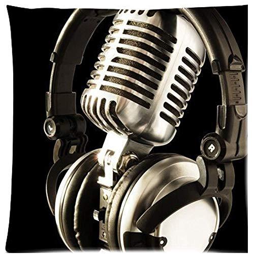 Babydo Throw Pillow Covers koptelefoon met microfoon op de achtergrond zwart ritssluiting verborgen bankovertrek vierkant stoel huis polyester decoratie standaard 45 x 45 C