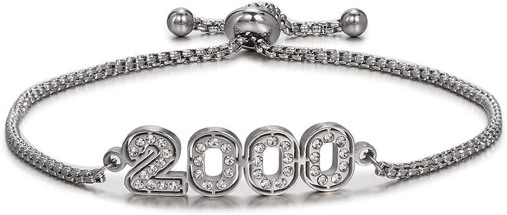 TUSHUO Rhinestone Engraved Birth Year Charm Chain Bracelet 2000