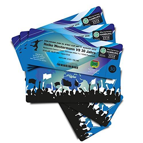 50 Geburtstagskarten Einladungskarten als Fussballticket -blau - Fussballkarten Ticket Eintrittskarte mit Abriss-Coupon