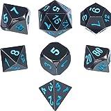 TecUnite Zinklegierung Shiny Schwarz Lackiert und Blau Zahlen Metall Polyhedral 7-Die Würfel Set...