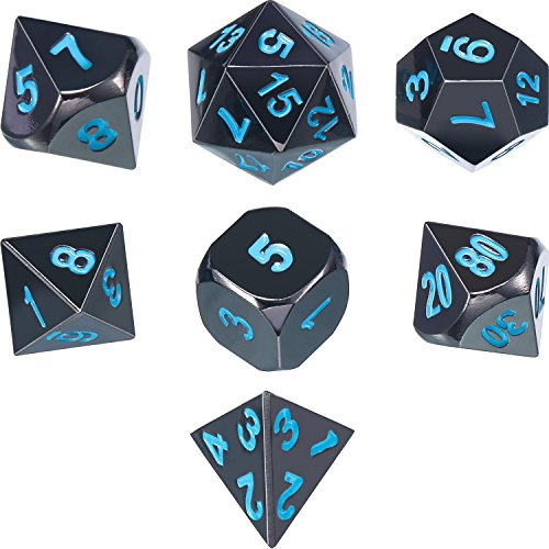 7 Die Metal Polyhedral Dice Set DND Role Playing Game Dice Set with Storage Bag for RPG Dungeons and Dragons D&D Math Teaching (Shiny Black and Blue)