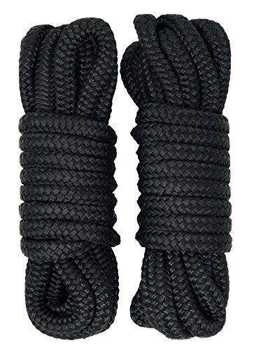 Rainier Supply Co Dock Lines - 2 Pack 15' Double Braided Nylon Dock Line/Mooring Lines - Ultra Strong and Soft - Boat Accessories - 15' x 3/8 with 12 Eyelet, Black