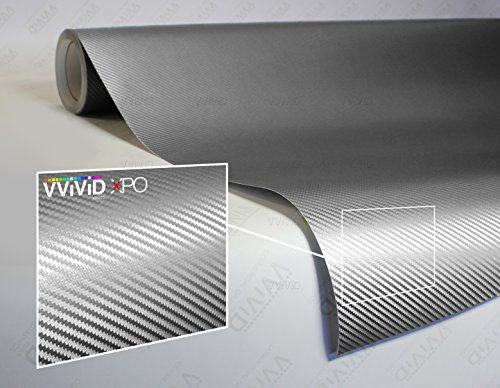 VViViD XPO Sterling Silver 3D Carbon Fiber 5 Feet x 1 Foot Vinyl Wrap Roll with Air Release Technology