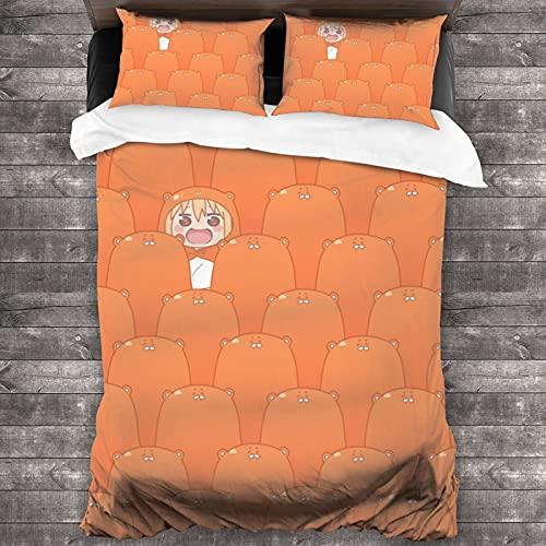 ASDJLK Himouto Umaru Chan - Juego de cama de 3 piezas (86 x 70 pulgadas, microfibra ligera, supersuave, 1 funda de edredón y 2 fundas de almohada para niños y niñas