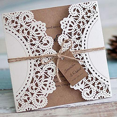 50 Kit/Pack Linten Decoratie Bloem Laser Knip Patroon Uitnodigingen Kaarten voor Bruiloft Blank Op maat gemaakt Inside Paper Convite