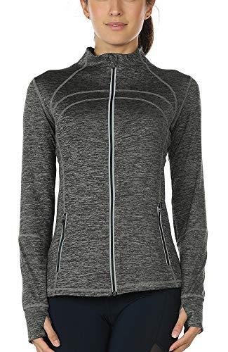 icyzone Sport Jacke Damen Langarm Shirt - Trainingsjacke voll Reißverschluss Laufshirt mit Daumenloch und Seitentasche (Charcoal, XL)