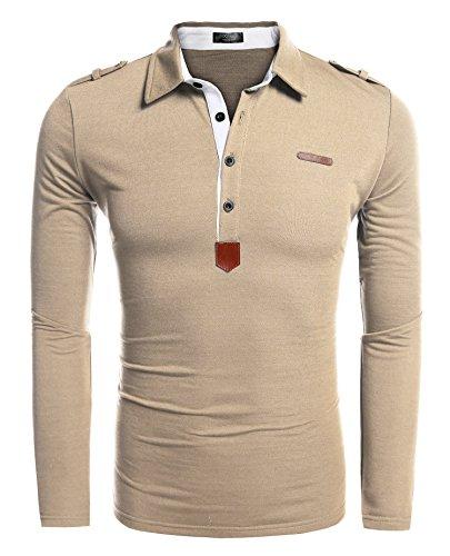 COOFANDY Herren Poloshirt elegante Langarmshirts regular fit Langarmpolo für Männer,Beige,XL