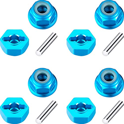 24 Pieces Aluminum Wheel Hex Drive Hub Adaptor with Locknut and Pins Compatible with RC Model Car Parts