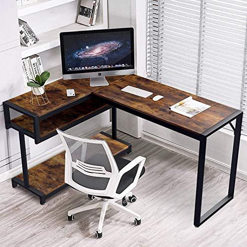 Scrivania angolare per computer, scrivania a forma di L, moderna e robusta, per ufficio, resistente ai graffi (noce chiaro)