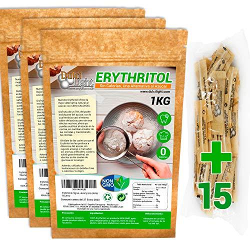 Eritritol 100% Natural Organico Ecologico 3Kg pack en envases individuales Edulcorante 0...
