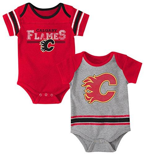NHL Calgary Flames Children Unisex Definitive 2Piece Onesie Set, 24 Months, Heather Grey