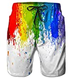 Belovecol Men's Rainbow Gay Pride Couple Board Shorts 3D Print Colorful Graphic Swim Trunks Summer Quick Dry Bathing Suits M