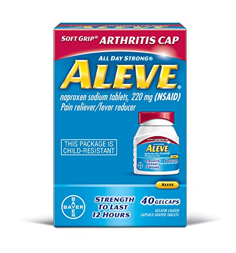 Aleve Soft Grip Arthritis Cap Gelcaps, Naproxen Sodium 220 mg (NSAID), Pain Reliever/Fever Reducer, #1 Orthopedic Surgeon Recommended, 40 Count