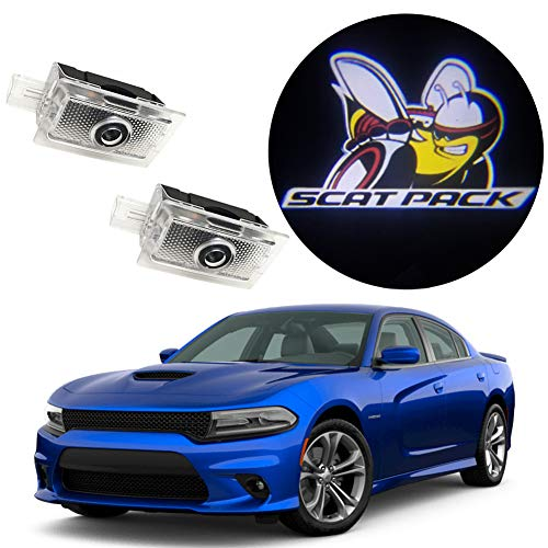 EastFly Never Fade Door Light Led Logo for Dodge Charger Magnum Projector Ghost Shadow Puddle Courtesy Step Lights (1. Scat Pack Emblem for Charger)
