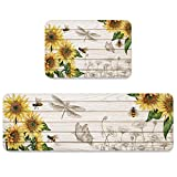 BRINGMEHOME Sunflower Rustic Kitchen Mats Cushioned Anti Fatigue 2 Piece Set Super Soft Ergonomic Kitchen Floor Mat for Home Office Standing Mat 19.7x31.5inch+19.7x47.2inch Barn Wood Country Style