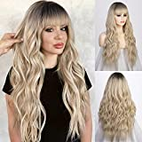 Stamped Glorious Blonde Wig with Bangs for Women Long Curly Wavy ombre Blonde Wig Heat Resistant Hair Wigs for Daily Party Use