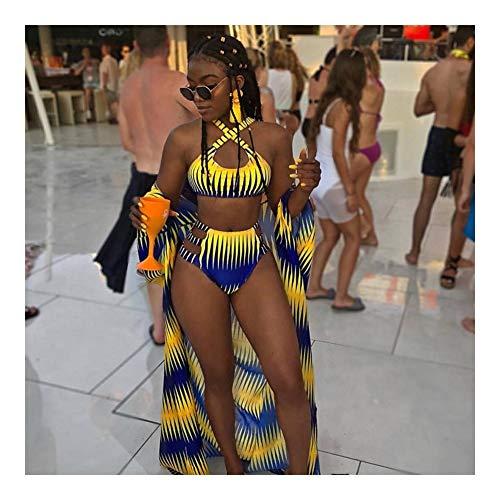 Bañador De cintura alta del bikini traje de baño de las mujeres de impresión de la cremallera del traje de baño de África Biquini vendaje Bikinis tiras traje de baño halter ropa de playa Mujer Dos Pie