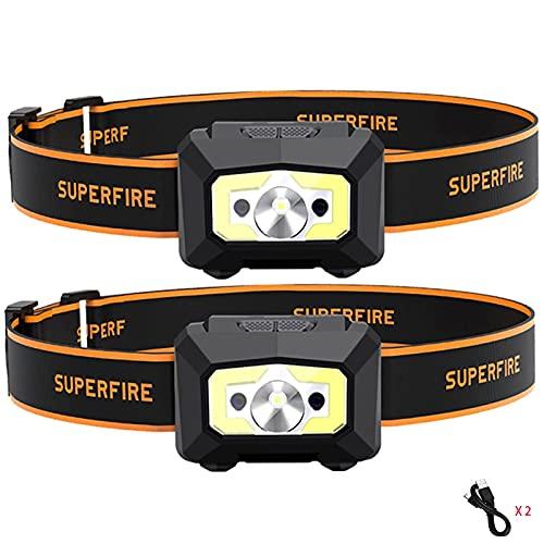 Super Bright headlamp Rechargeable Induction COB Headband Light Headwear LED Strong Light Long-Range Waterproof Night Light Fishing Running Camping Mountaineering - 2 Pack…