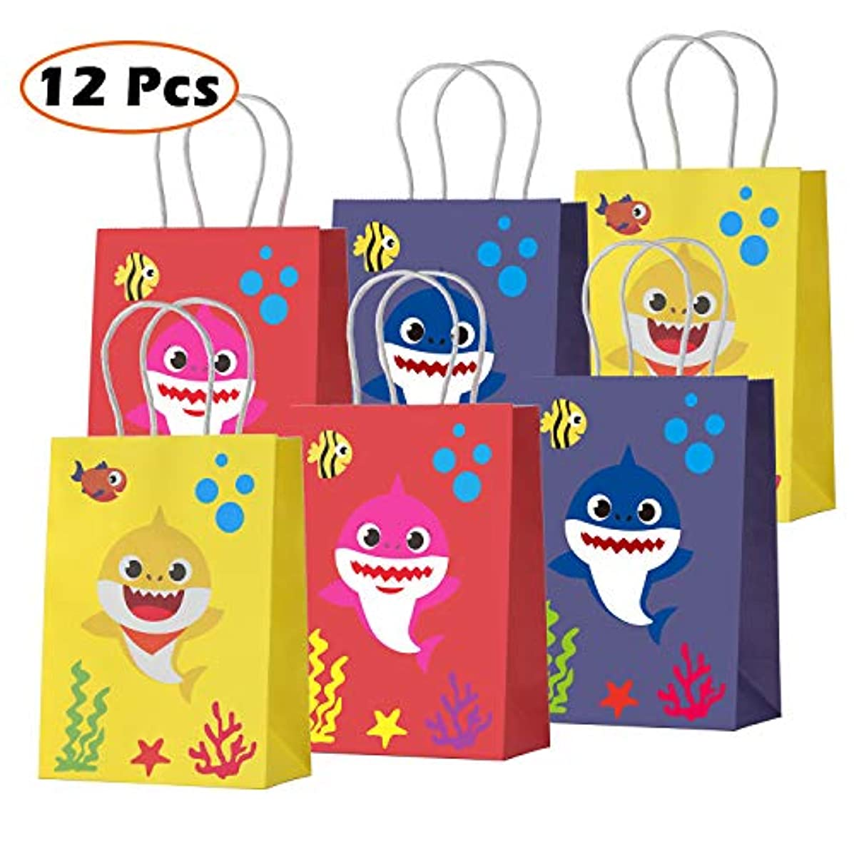 Baby Cute Shark Theme Party Gift Bags Shark Goodie Candy Treat Paper Bags for Baby Shower Kids Girls or Boys Birthday Party Supplies