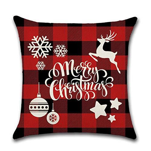 JazJoz 20 Designs Tartan Checked Christmas Winter Cushion Covers 18x18 inch Xmas Sofa Home Décor Christmas Favor