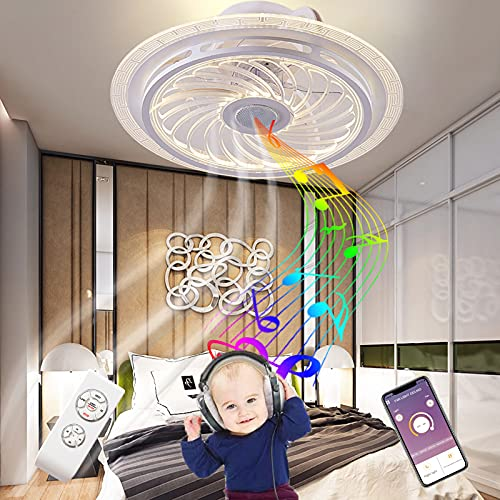 Lampara Ventilador Techo con Luz LED y Mando a Distancia Ultra Silencioso Bluetooth Altavoz Música Plafon Ventilador de Techo con Iluminación Industrial Regulable Infantil Dormitorio Salón Dormir
